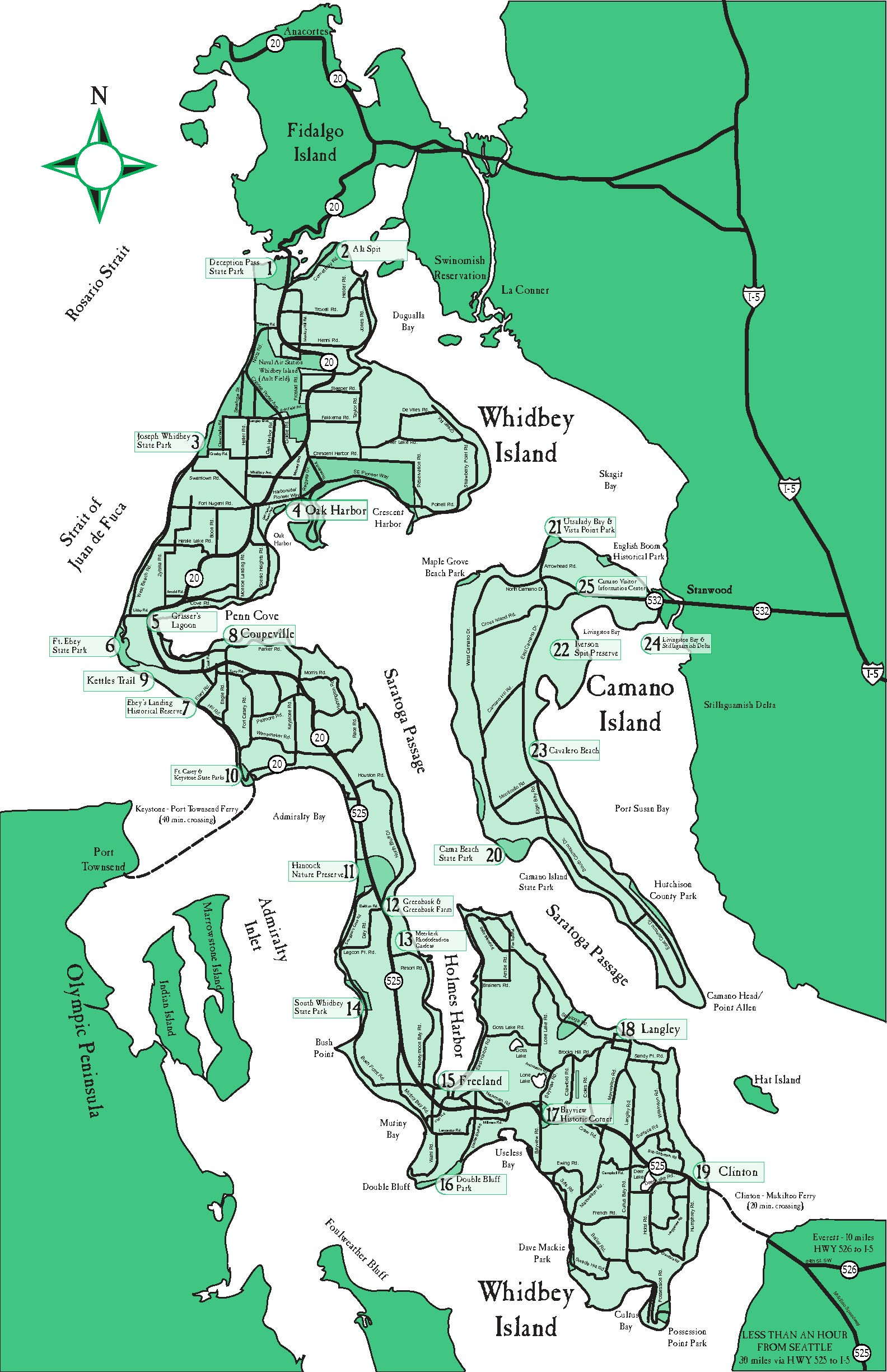 Whidbey Island Park Map Of Whidbey Island Yabsta