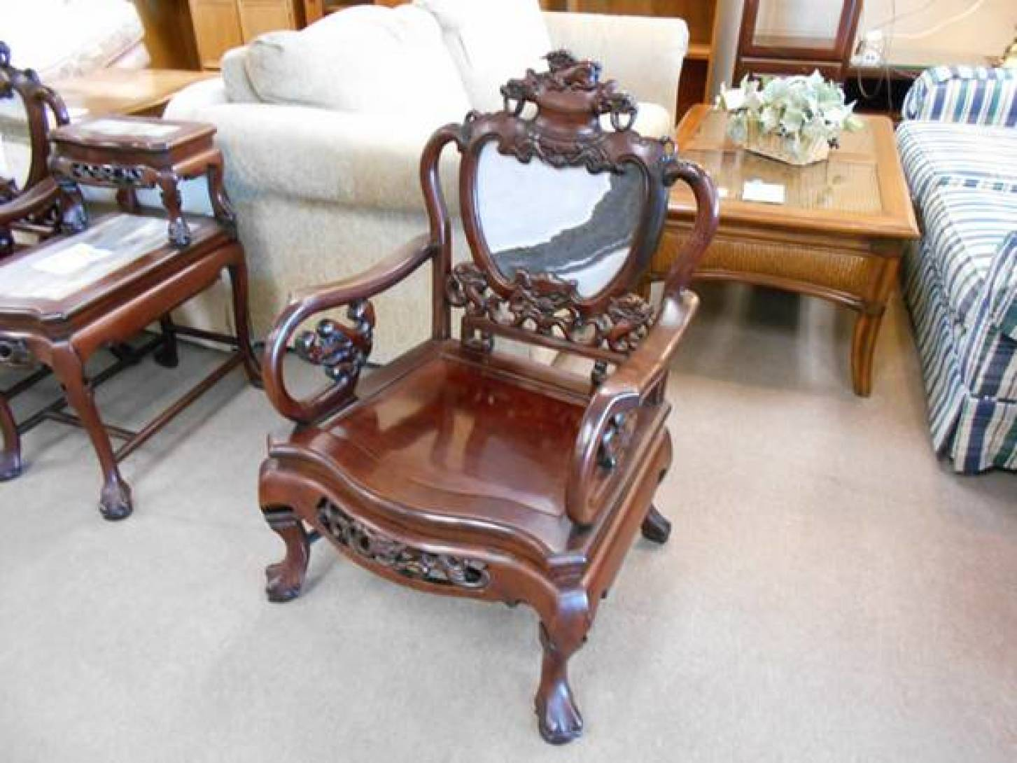 Solid Mahogany and Marble Chair