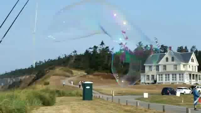Blowing Huge Bubbles on Whidbey at the Kite Festival
